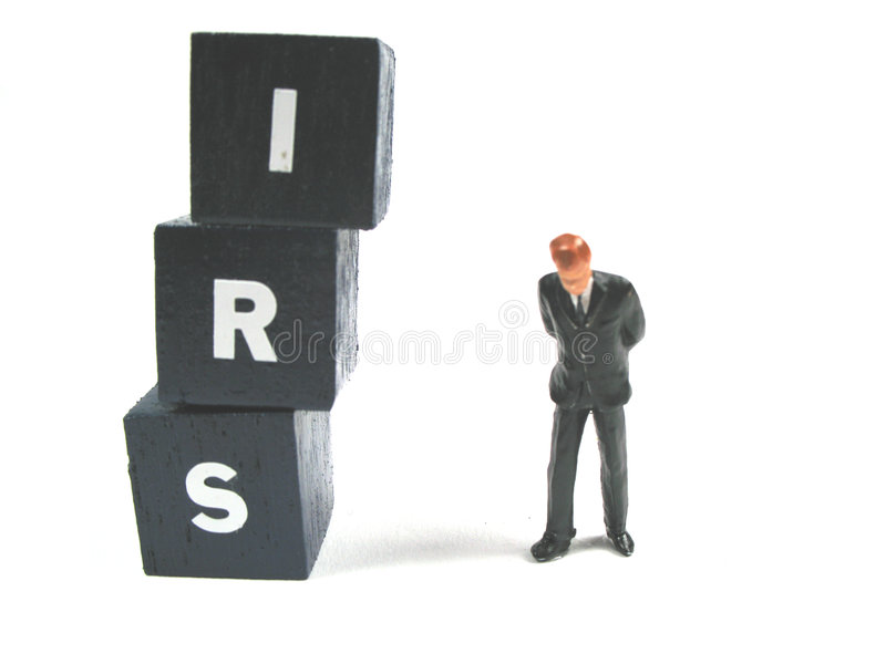 The IRS is waiting for you. A man is about to get surprised by the IRS royalty free stock image