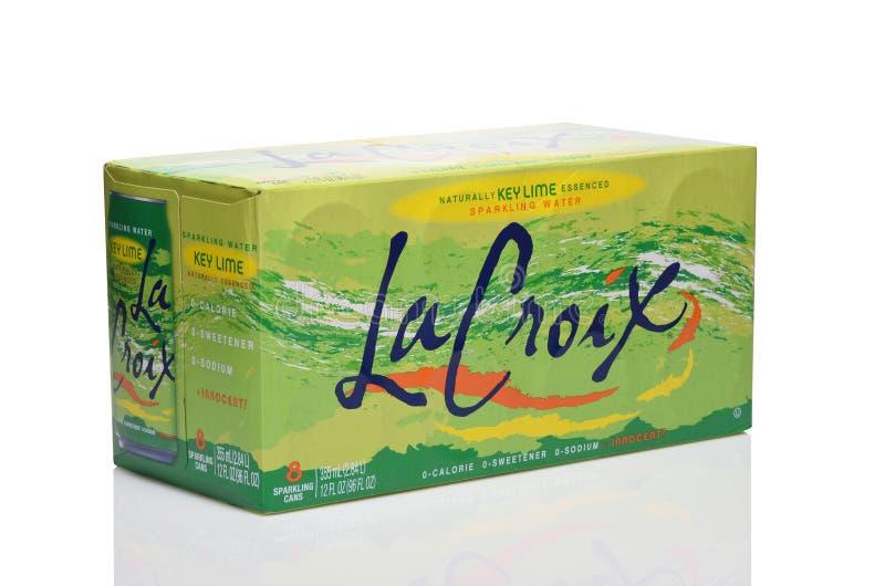 IRVINE, CALIFORNIA - 20 DEC 2019: Een verpakking van 8 pakje La Croix Key Lime Sparkling Water royalty-vrije stock foto