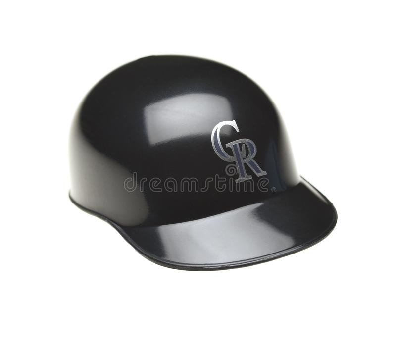 Closeup of a mini collectable batters helmet for the Colorado Rockies. IRVINE, CALIFORNIA - FEBRUARY 27, 20149: Closeup of a mini collectable batters helmet for royalty free stock photography