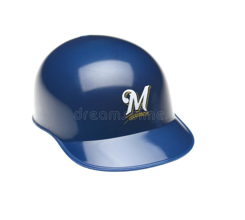 Closeup of a mini collectable batters helmet for the Milwaukee Brewers royalty free stock photography