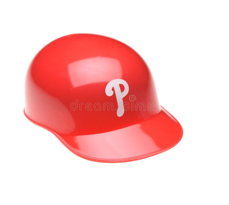 Closeup of a mini collectable batters helmet for the Philadelphia Phillies royalty free stock image