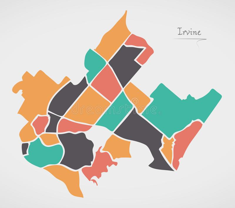 Irvine California Map with neighborhoods and modern round shapes. Illustration vector illustration