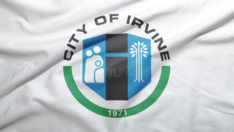 Irvine of California of United States flag background. Irvine of California of United States flag on the fabric texture background stock illustration