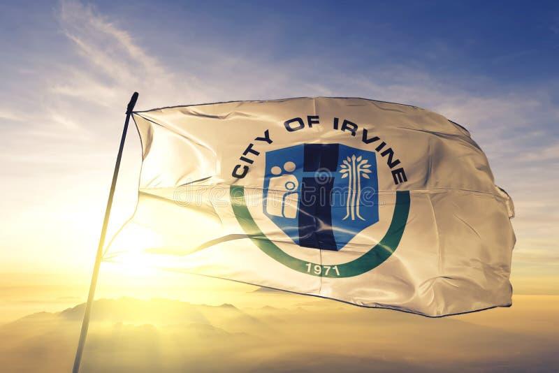 Irvine of California of United States flag waving on the top. Irvine of California of United States flag waving royalty free stock image