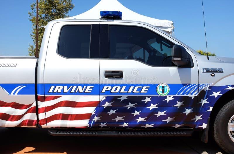 Irvine Police Vehicle en Irvine Global Village foto de archivo libre de regalías