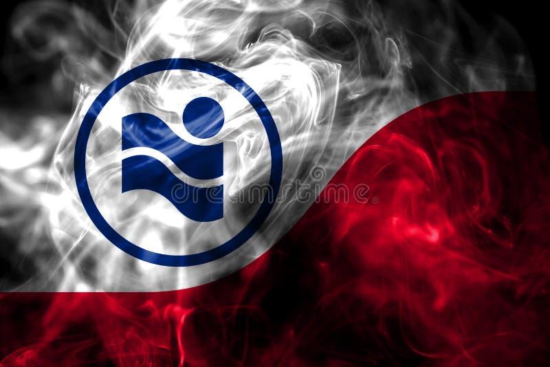 Irving city smoke flag, Texas State, United States Of America.  royalty free stock photos