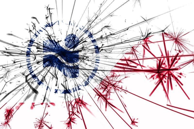 Irving, Teksas fajerwerki błyska flaga Nowy Rok 2019 i przyjęcia gwiazdkowego pojęcie flaga stanów zjednoczonej ameryki zdjęcia stock
