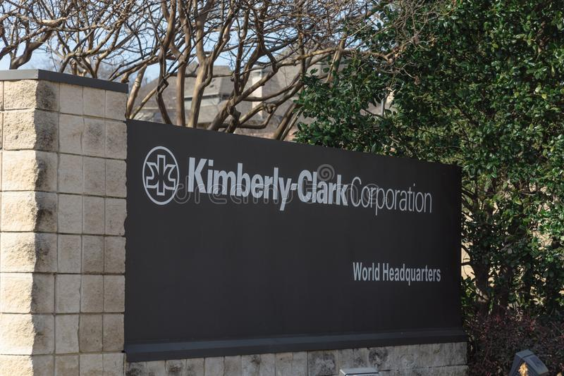 Entrance to world headquarters of Kimberly-Clark in Irving, Tex. IRVING, TX, USA-JAN 14, 2018: Main entrance to world headquarters of Kimberly-Clark. American stock photos