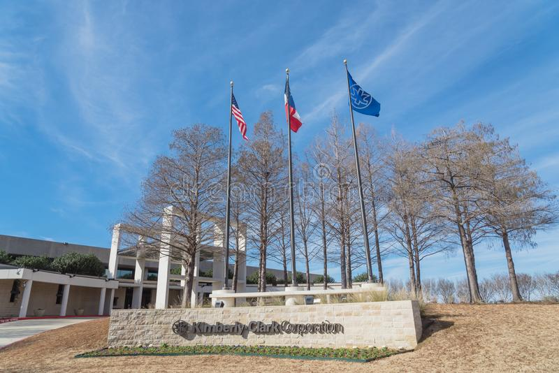 Entrance to world headquarters of Kimberly-Clark in Irving, Tex. IRVING, TX, USA-JAN 14, 2018: The world headquarter of Kimberly-Clark, American multinational royalty free stock photos