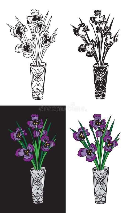 Irysowy kwiat w krystalicznej wazie ilustracji
