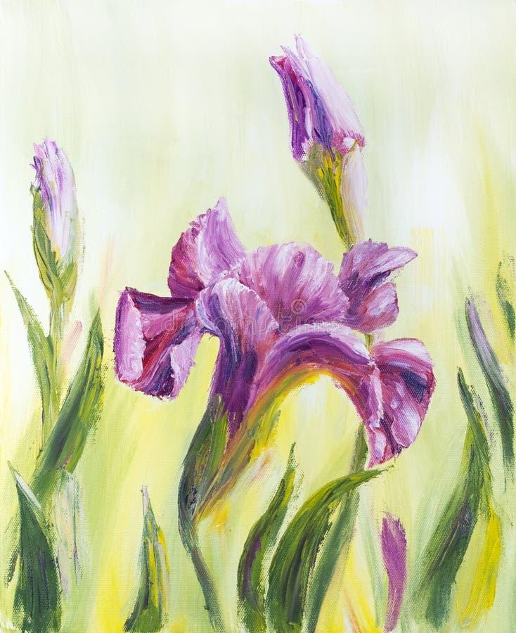 Irysy, obraz olejny ilustracji