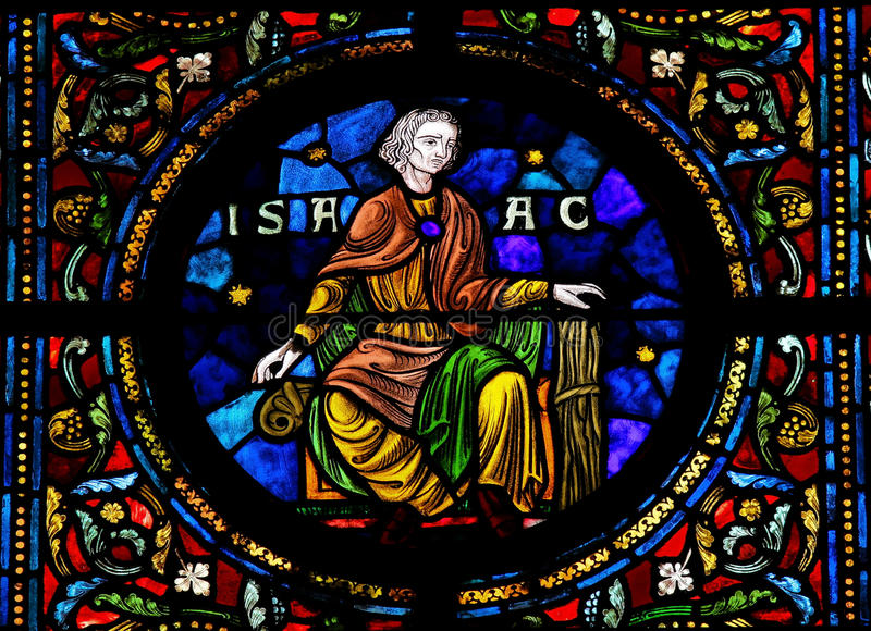 Isaac. Stained glass window depicting Isaac, one the Hebrew patriarchs, son of Abraham in the Notre Dame church of Dinant, Belgium stock images
