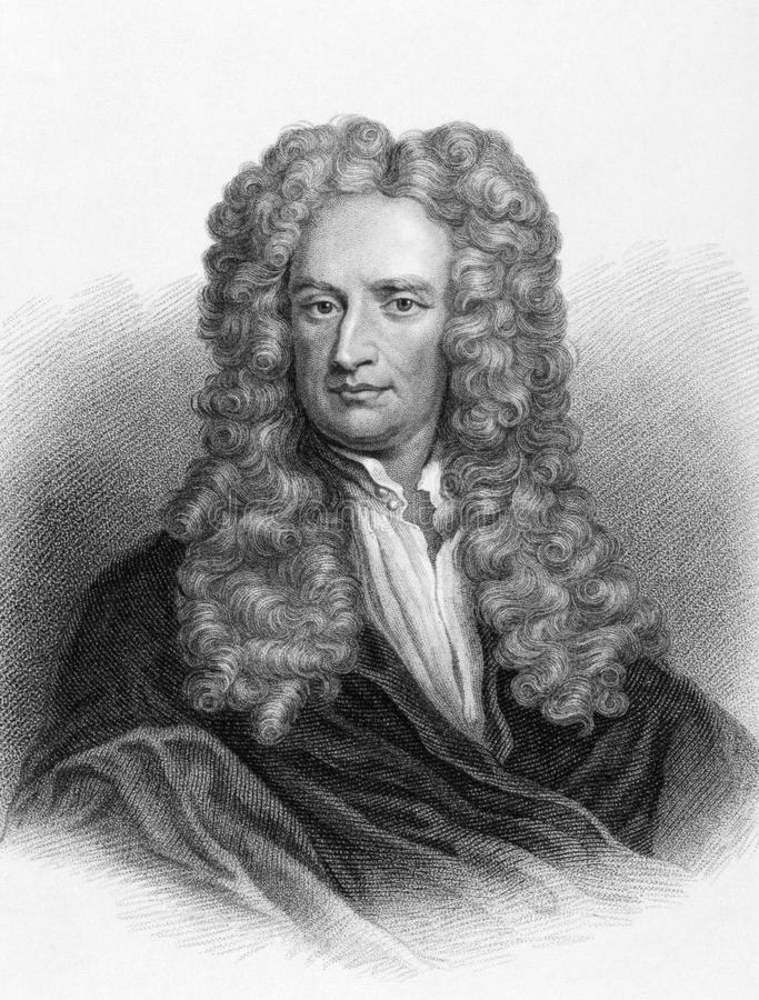 Isaac Newton. (1643-1727) on engraving from the 1800s. One of the most influential scientists in history. Engraved by Freeman from the original painting by Sir royalty free stock photo