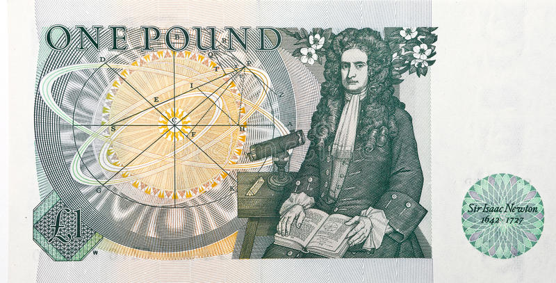 Isaac Newton. Sir Isaac Newton as found on the rear of a one pound note royalty free stock photography