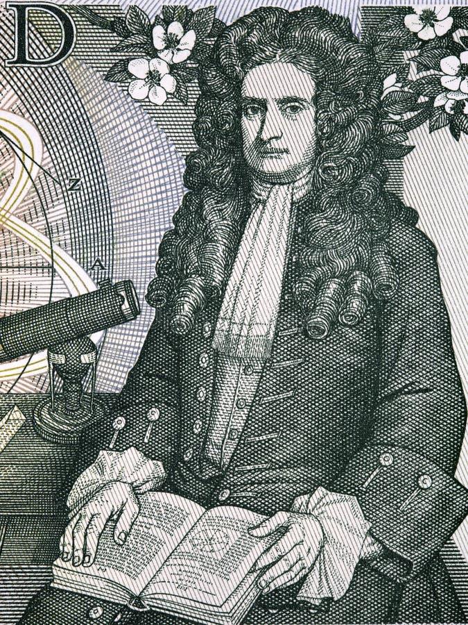 Isaac newton portret od starego Angielskiego pieniądze zdjęcie stock