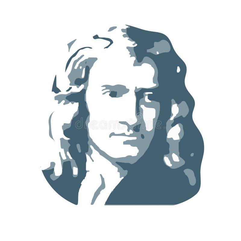 Isaac Newton, um físico inglês e matemático Vetor ilustração do vetor