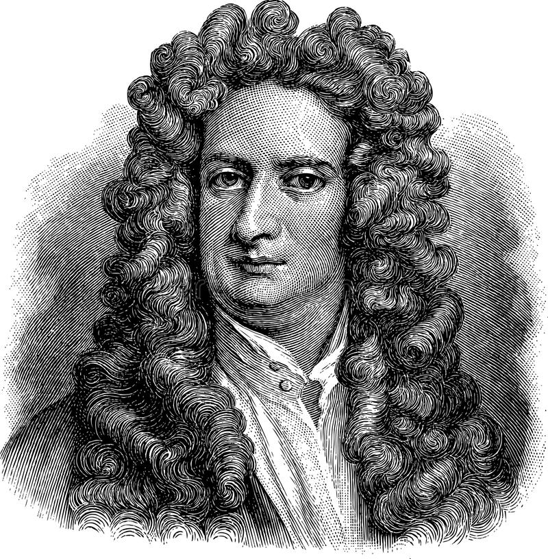 Isaac Newton. Vectorized old illustration of Isaac Newton, engraving is from Meyers Lexicon published 1914
