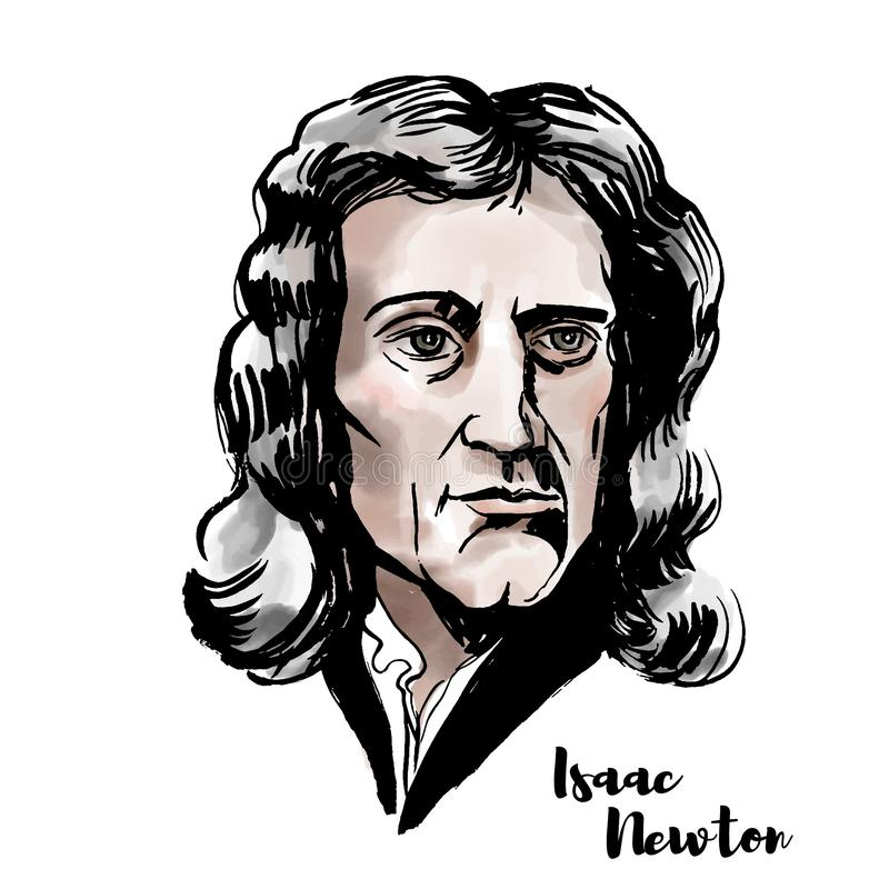 Isaac Newton Portrait. Isaac Newton watercolor vector portrait with ink contours. English mathematician, astronomer, theologian, author and physicist stock illustration