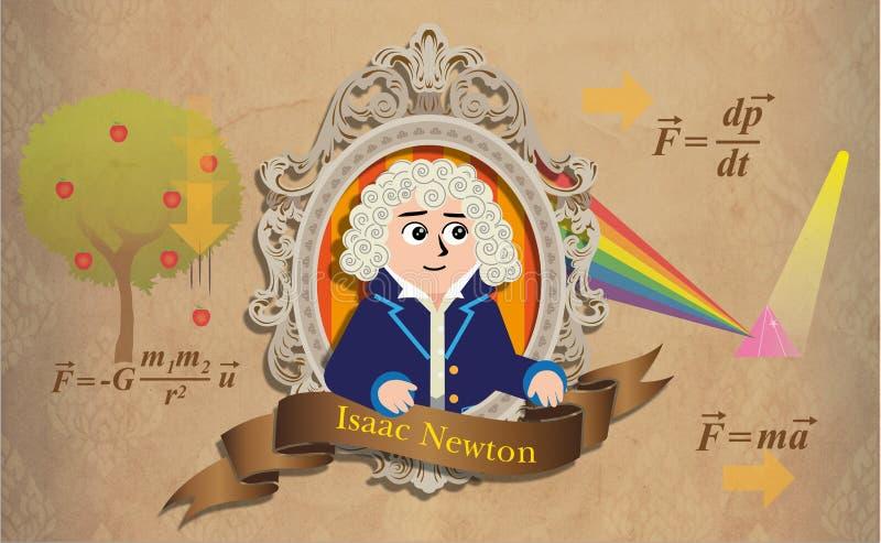 Isaac newtonu matematyczka, astronom, naturalny filozof, alchemik i teolog, royalty ilustracja