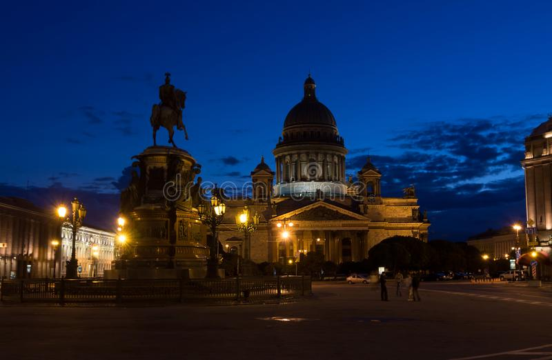 Isaac`s Cathedral in White Nights. ST PETERSBURG, RUSSIA - JULY 6, 2012: Isaac`s Cathedral in White Nights royalty free stock image