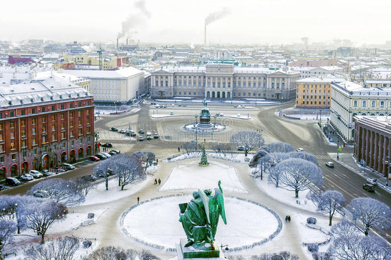 Isaac`s Square in St.Petersburg in the winter.  stock image