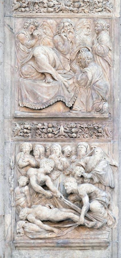 Isaac välsignar Jacob upp och jordfästningen av frun för Jacob ` s arkivbilder