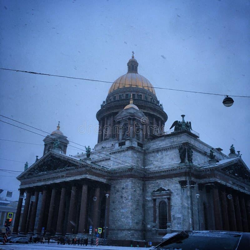 Isaak大教堂冬天早晨 库存照片