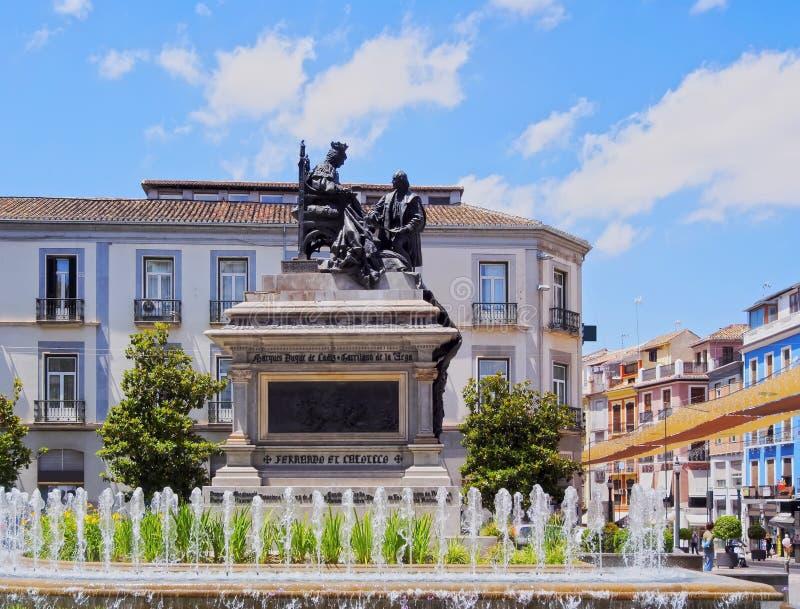 Isabel la Catolica Square in Granada, Spain. Plaza Isabel La Catolica in Granada - beautiful city in Andalusia, Spain stock photos