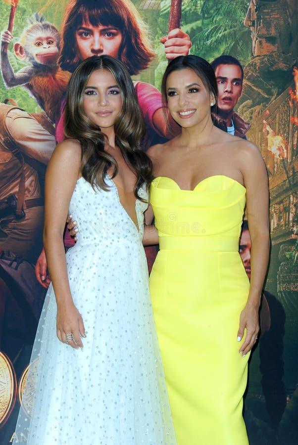 Isabela Moner and Eva Longoria royalty free stock photos