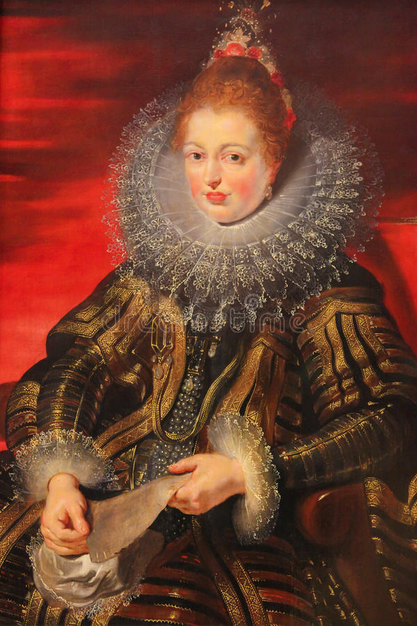 Isabella Clara Eugenia - Painting by Rubens & x28;16th Century& x29;. Painting by Rubens depicting Isabella Clara Eugenia & x28;1566 - 1633& x29;, sovereign of royalty free illustration