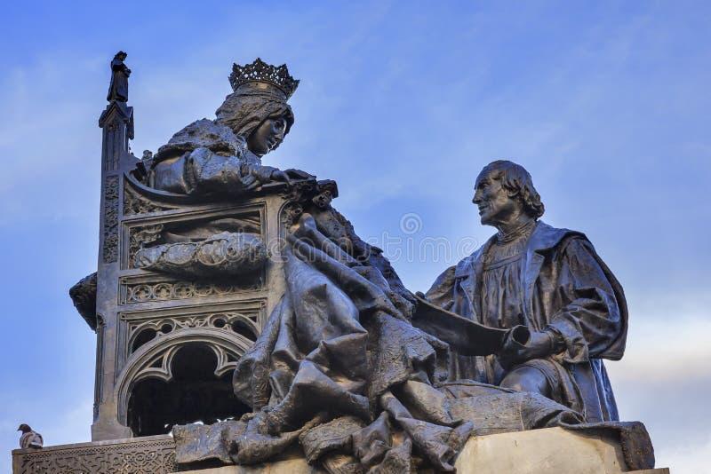 Isabella 1492 com Columbus Statue Built a Andaluzia 1892 Granada fotografia de stock
