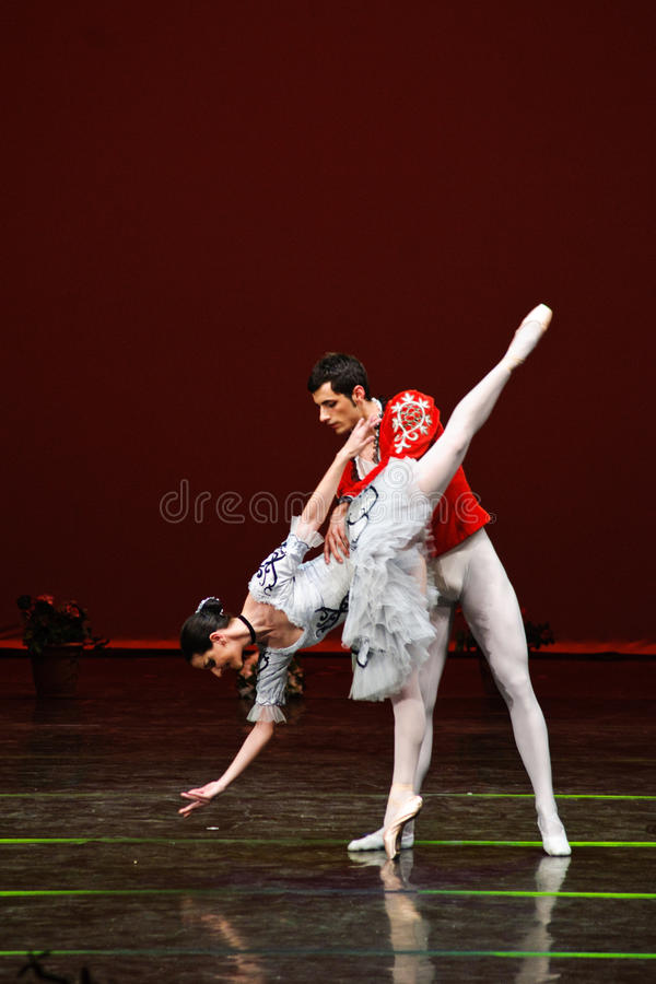 Isabelle Facile and Michiele Fabrio performing. In a classic ballet show royalty free stock images