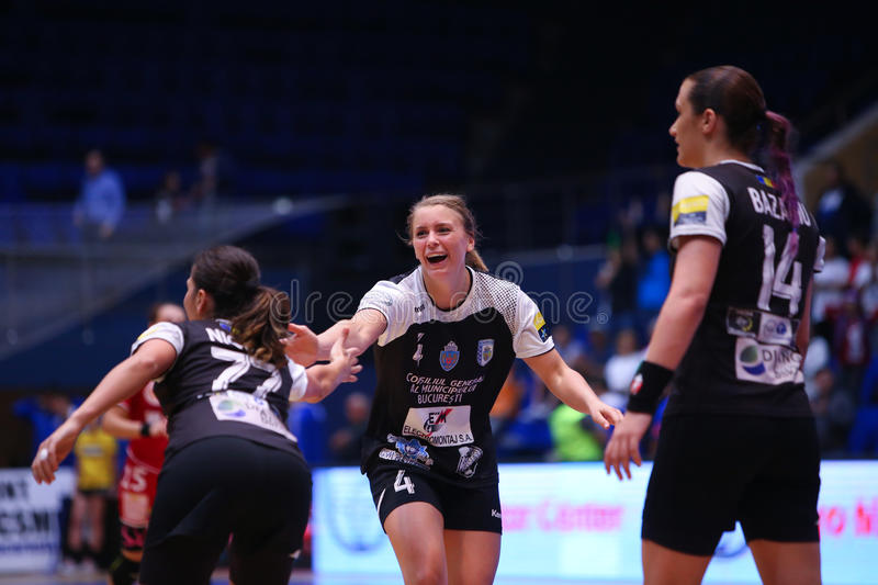 ISABELLE GULLDEN. ( C ) from CSM Bucharest, in action during a handball match against U Cluj, in Romania's national league, played at Polivalenta Hall, in royalty free stock photos