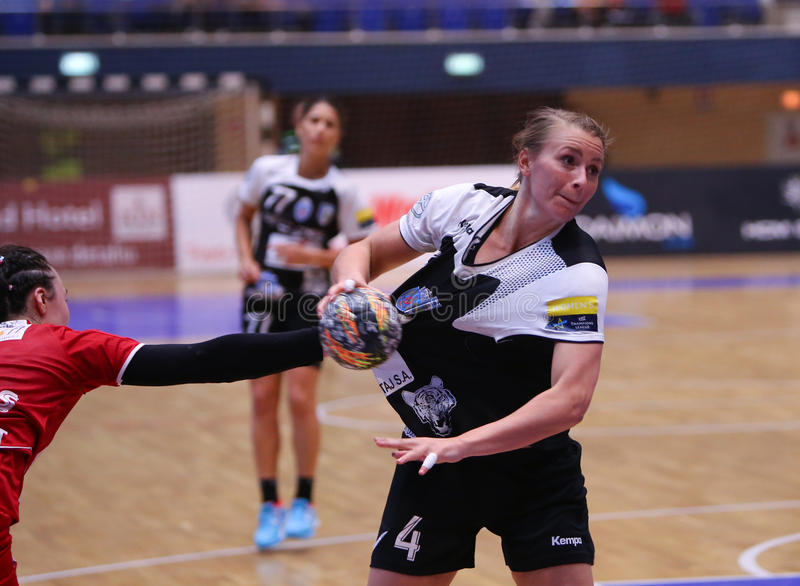 ISABELLE GULLDEN. From CSM Bucharest, in action during a handball match against U Cluj, in Romania's national league, played at Polivalenta Hall, in Bucharest royalty free stock photo