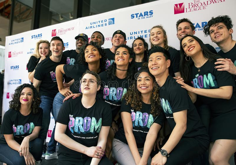 Isabelle McCalla and Caitlin Kinnumen at 2019 Stars in the Alley. Actors Isabelle McCalla, Tony nominated Caitlin Kinnumen, and ensemble pose at Stars in the stock photos