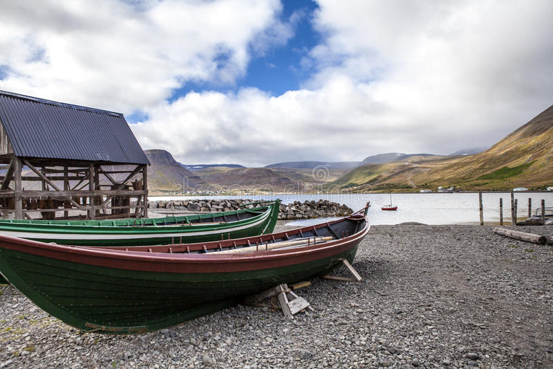 Isafjordur-pesca-barca immagine stock