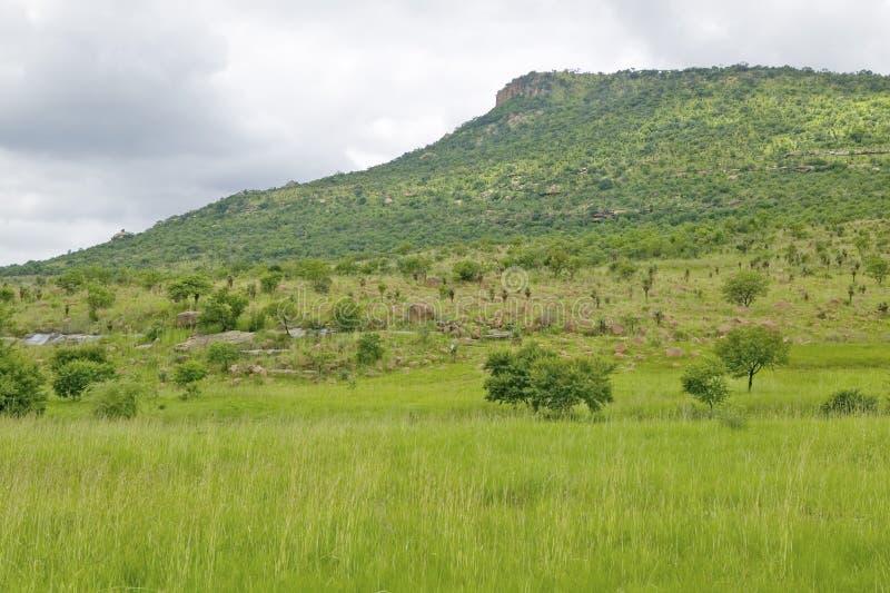 Isandlwana-Hügel oder Sphinx, die Szene des Anglo Zulu- Schlachtfelds vom 22. Januar 1879 Das große Schlachtfeld von Isandlwana u lizenzfreie stockfotos