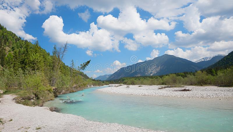 Isar flod nära vorderriss, bosatt utrymme för fåglar och alpin fl arkivbild