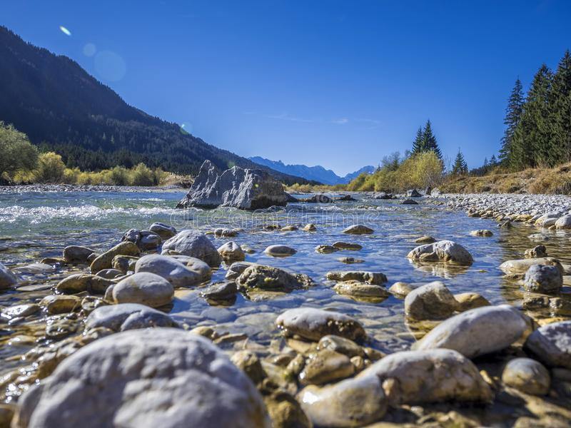 Isar Valley, Bavaria, Germany, Europe. Isar Valley between Wallgau and Fall, Bavaria, Germany, Europe stock image