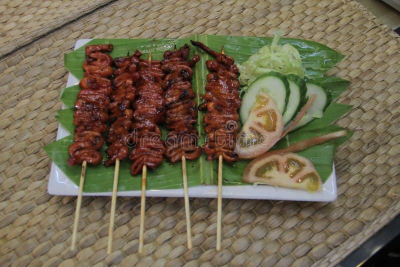 Isaw ng kurczaka Manok Piec na grillu jelito zdjęcie royalty free