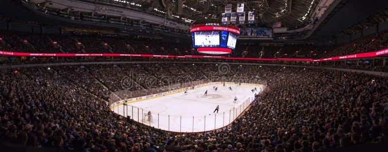 Isbana för ishockeylek arkivbild