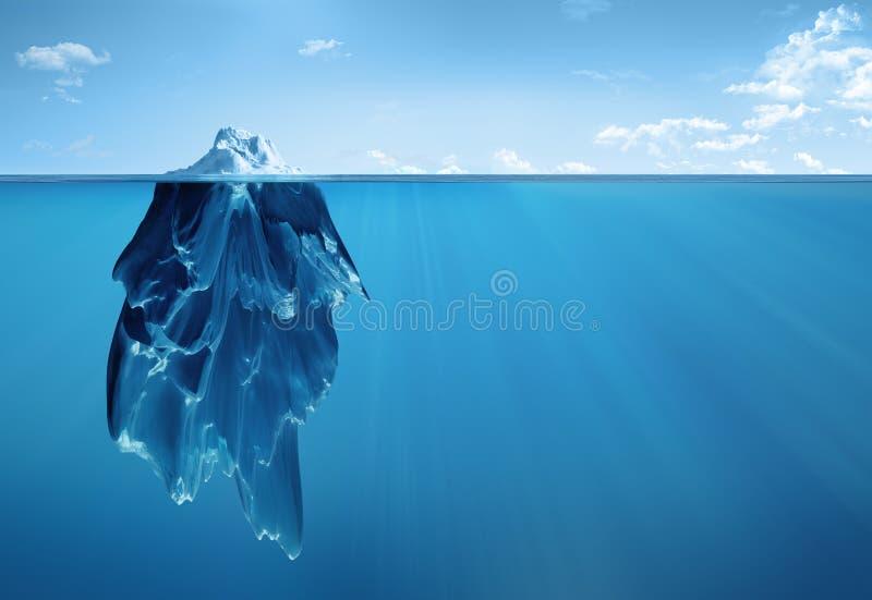 Isberg över och under stock illustrationer