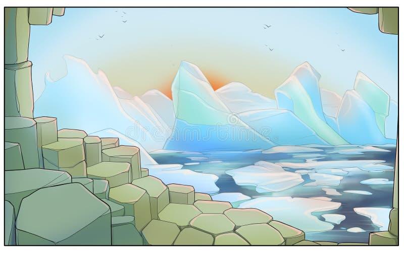 Isberg nära kusten - digital illustration fotografering för bildbyråer