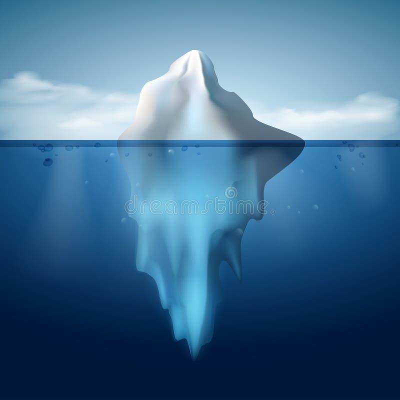Isberg på bakgrund för vattenbegreppsvektor royaltyfri illustrationer