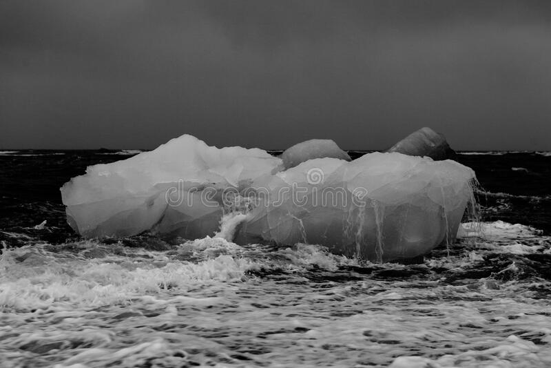 Isberg på stranden royaltyfri bild