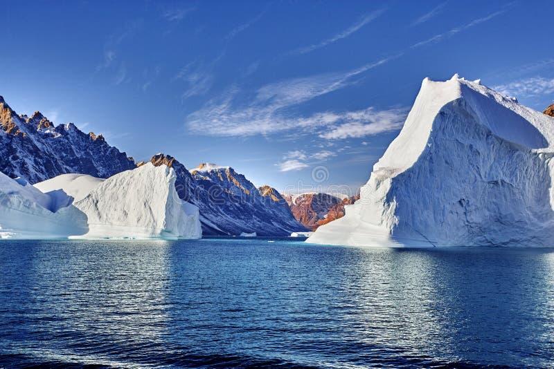 Isberg som svävar i den Grönland fjorden royaltyfri foto