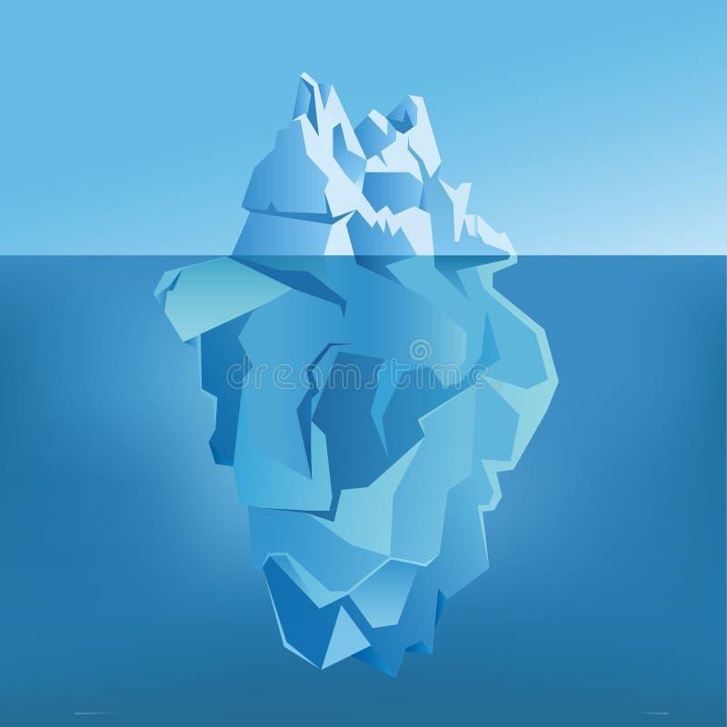 Isberg under och över - vatten också vektor för coreldrawillustration stock illustrationer