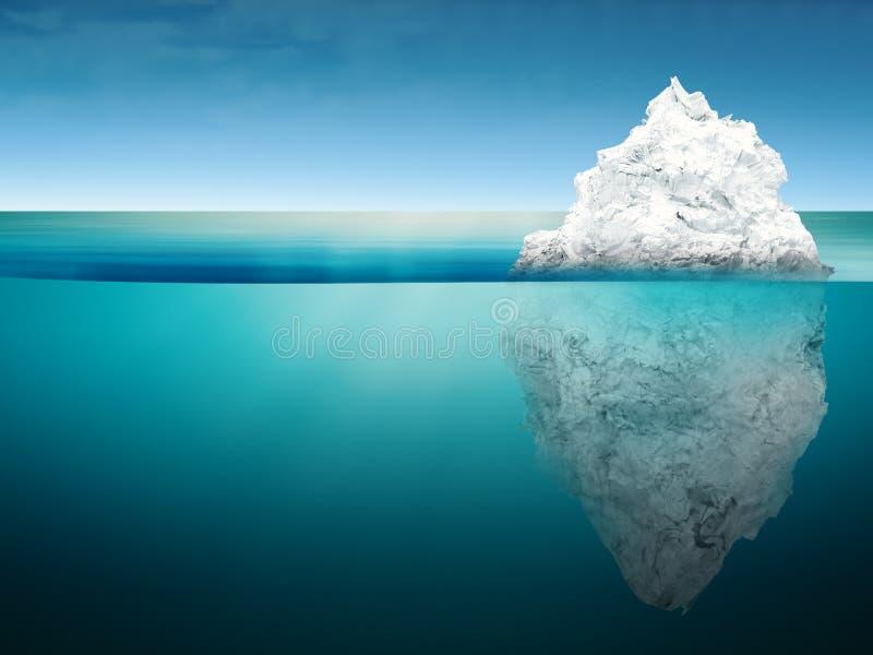 Isbergmodell på det blåa havet arkivbild