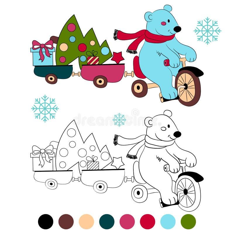 Isbjörn för färgläggningbok på cykeln med trädet och gåvor för nytt år royaltyfri illustrationer
