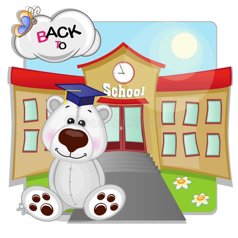 Isbjörn och skola royaltyfri illustrationer